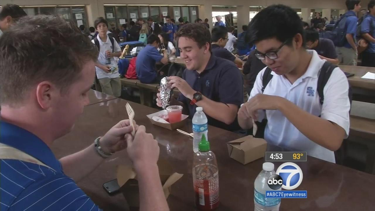 Students enjoy lunch at Santa Margarita Catholic High School in this 2015 photo.