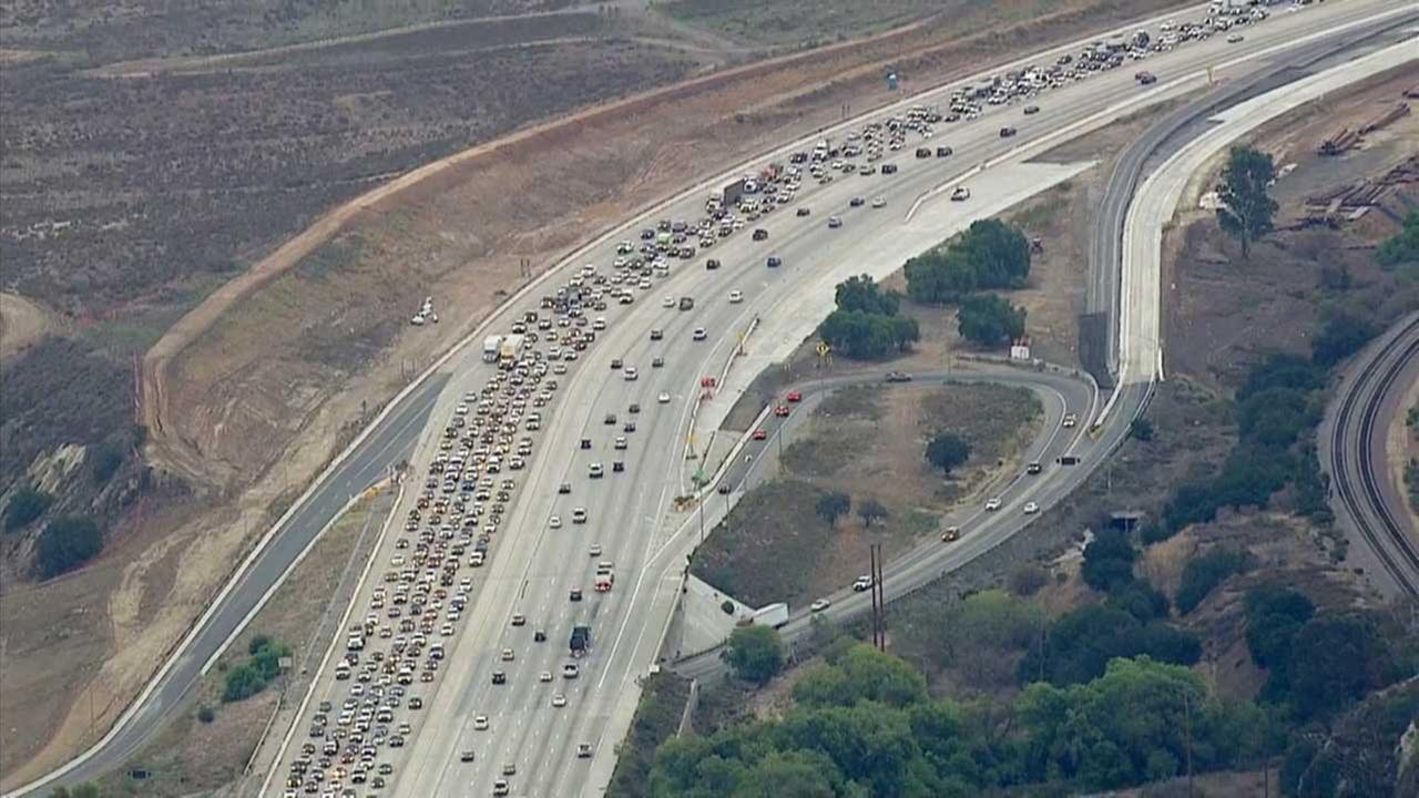 Lane closures on the westbound 91 Freeway through Corona due to storm damage caused gridlock traffic on Wednesday, Sept. 16, 2015.