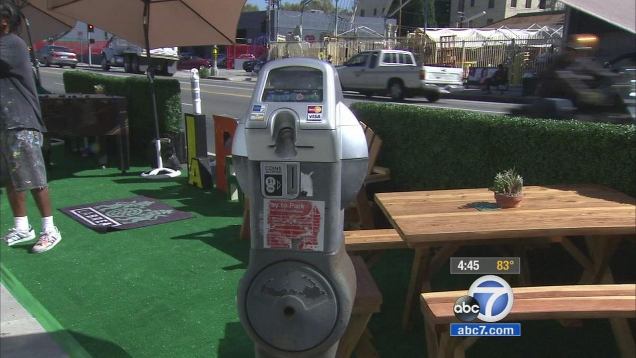 La Brea parking spaces turned into temporary parks for National Parking Day