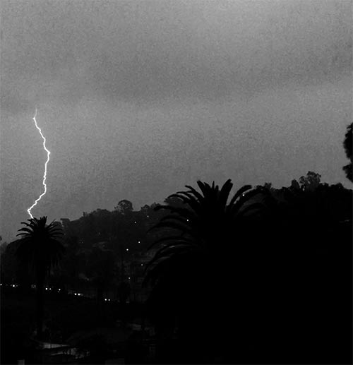 <div class='meta'><div class='origin-logo' data-origin='KABC'></div><span class='caption-text' data-credit='Twitter / DJ Irene'>An ABC7 viewer shared this photo of lightning in Silver Lake on Monday, March 7, 2016.</span></div>