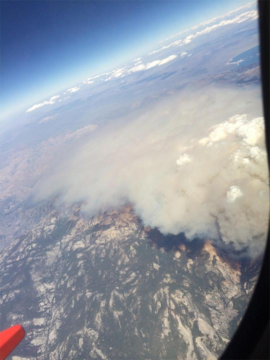 <div class='meta'><div class='origin-logo' data-origin='none'></div><span class='caption-text' data-credit='Mary Queen'>Yosemite fire as seen from a flight to SFO from Vegas on 9/7</span></div>
