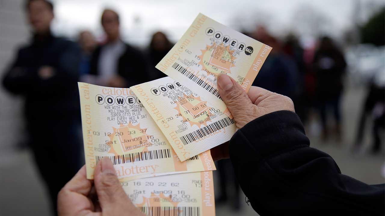 Powerball tickets are shown Saturday, Jan. 9, 2016, in San Lorenzo, Calif.