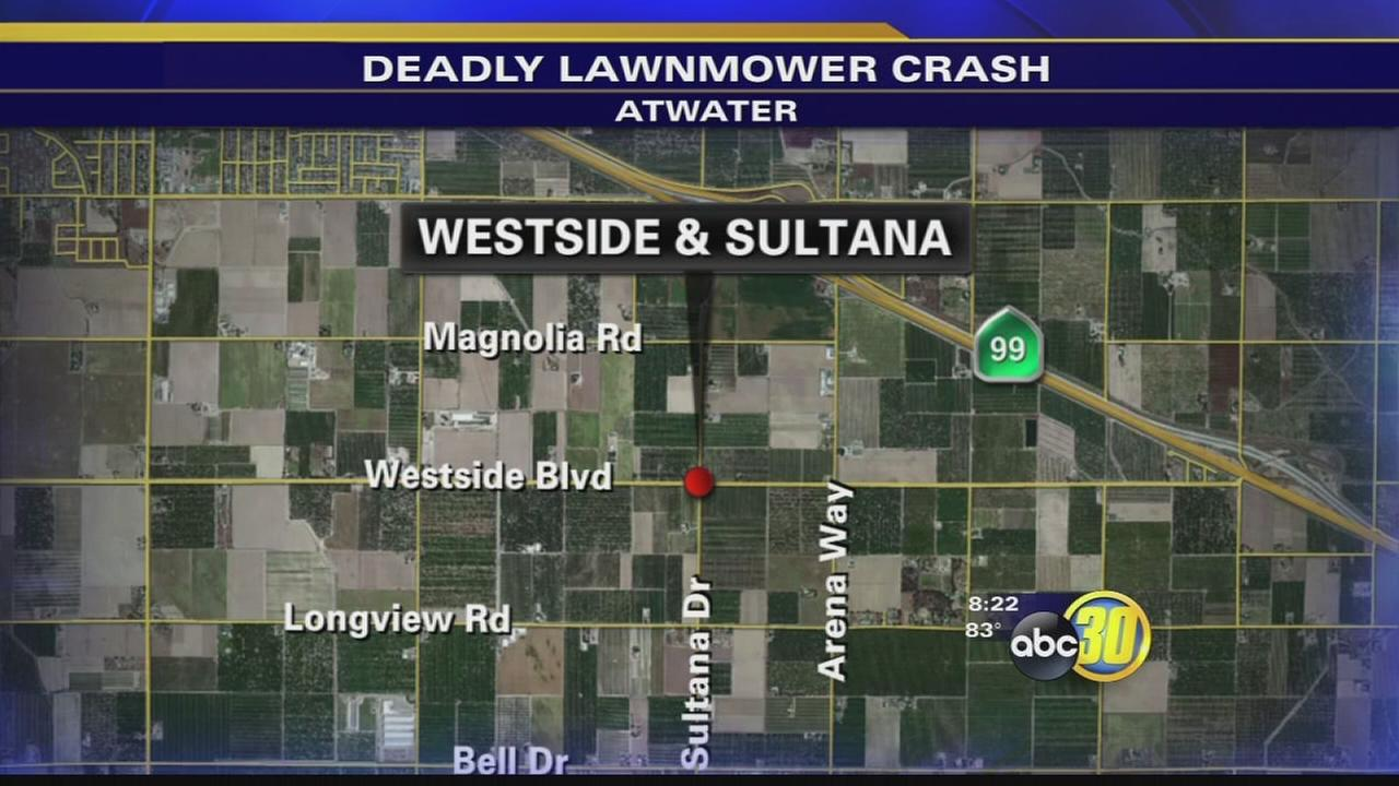Crash near Atwater kills boy on lawn mower