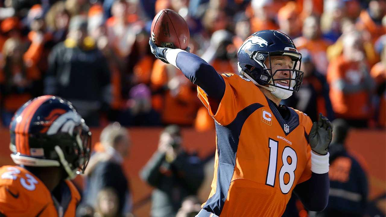 Denver Broncos quarterback Peyton Manning (18) reaches back to pass during the first half the NFL football AFC Championship game, Sunday, Jan. 24, 2016, in Denver.
