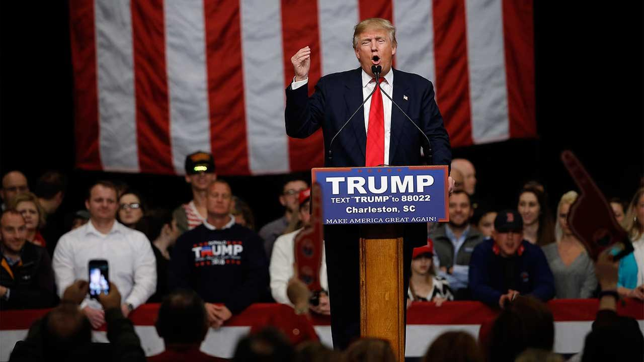 Republican presidential candidate Donald Trump speaks during a campaign stop Friday, Feb. 19, 2016.