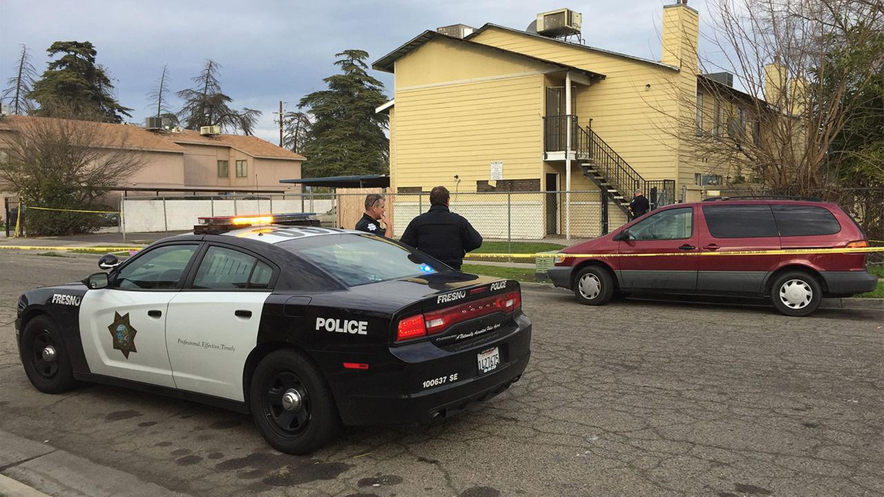 The Fresno Police Department said the shooting happened at an apartment complex near Kings Canyon and Peach Avenues around 3 p.m.
