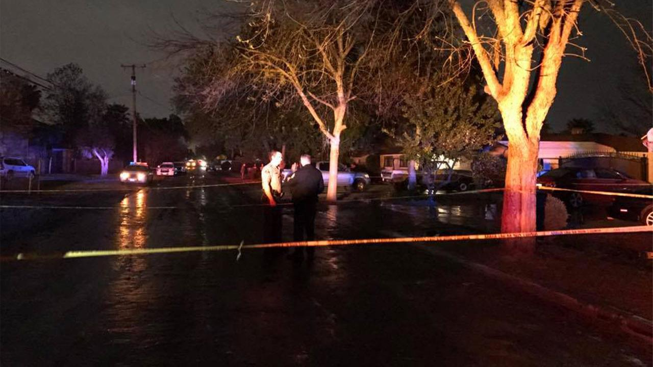 Authorities said the shooting happened near Tulare and Peach Avenues and another person, possibly the suspected shooter, was struck by a car while fleeing the scene.