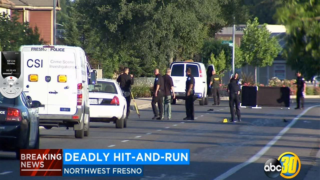 Police shut down the Figarden Loop in Northwest Fresno for several hours while they investigated a hit-and-run crash that left a pedestrian dead.