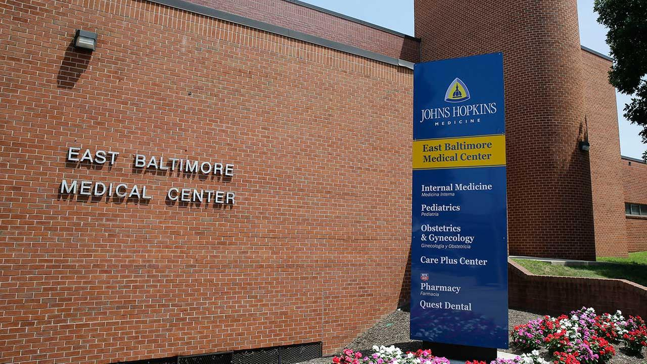 This photo taken July 8, 2014, shows the East Baltimore Medical Center, a community practice affiliated with Johns Hopkins Hospital, in Baltimore.