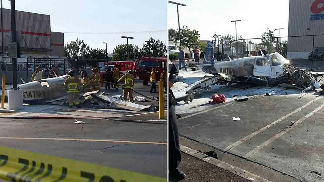 A small plane crashed in a San Diego shopping center parking lot Wednesday, July 30, 2014 killing one woman on board and seriously injuring another, a fire spokesman said.