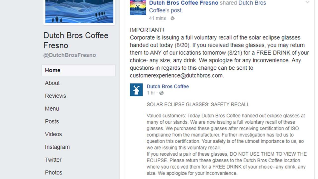 Dutch Bros Coffee recalls eclipse glasses