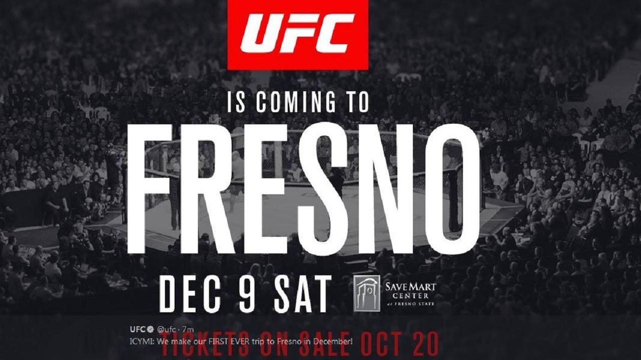For the first time ever, the UFC is coming to Fresno in December