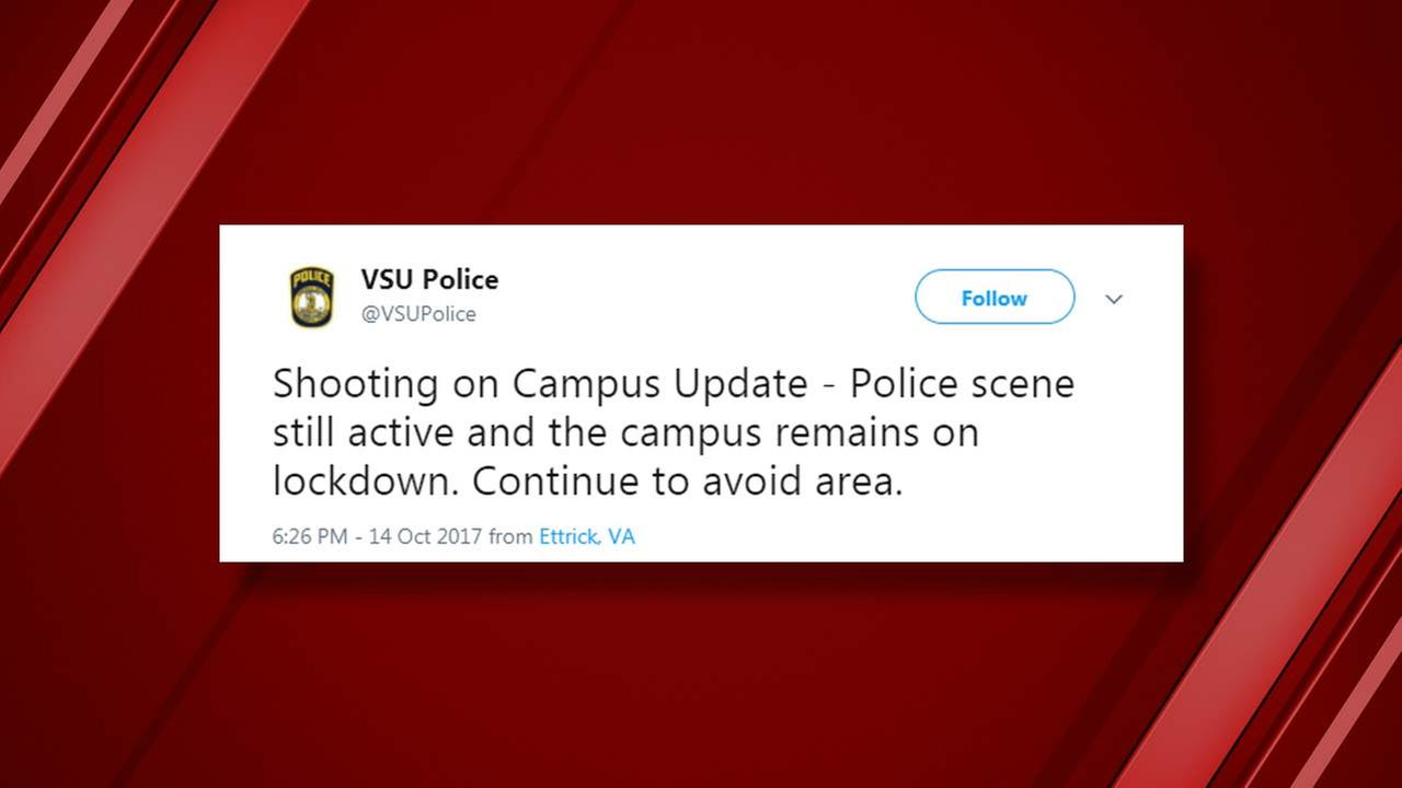 Virginia State University in on lockdown after a shooting on campus. (Via. VSUPolice Twitter)