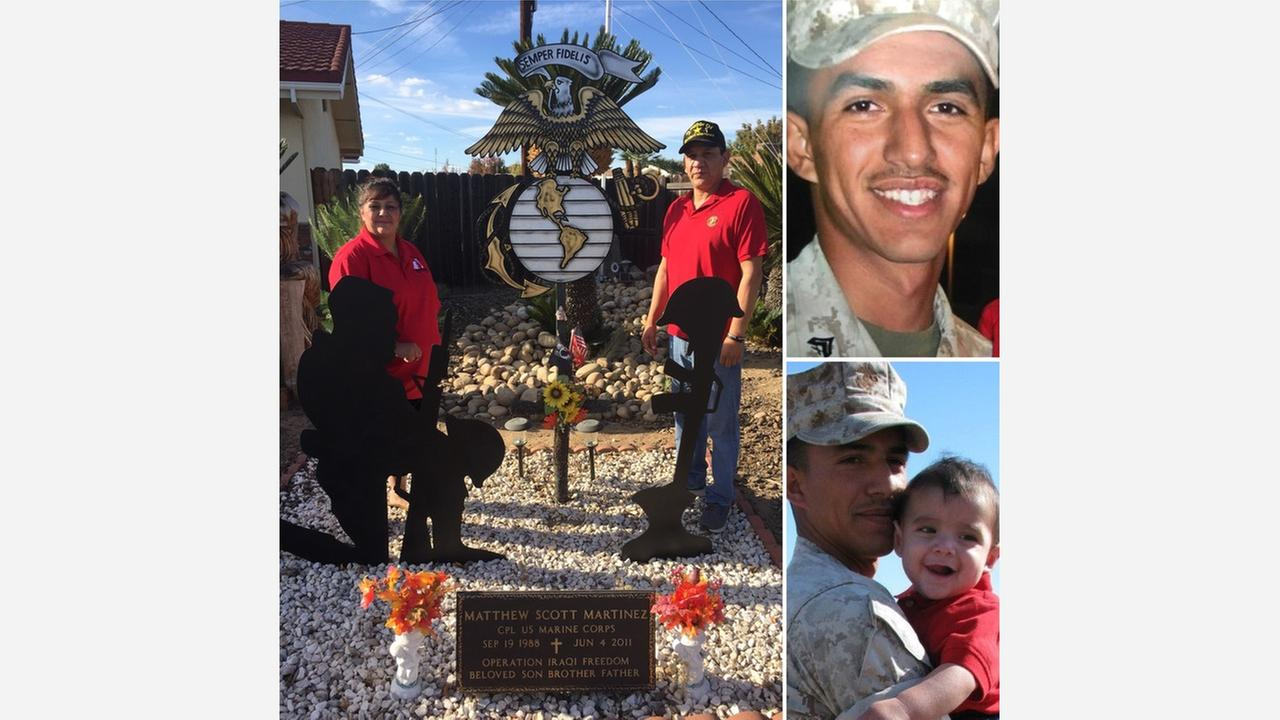 Reedley parents honor son through veterans memorial outside home