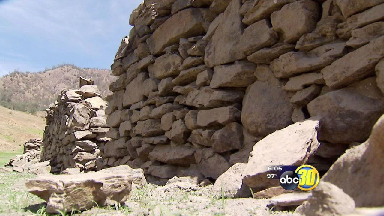 Old jail exposed as Pine Flat Lake levels drop