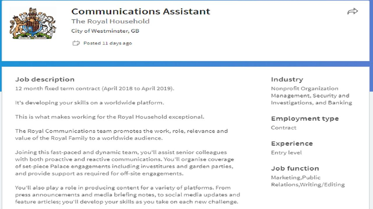 Buckingham Palace needs a communications assistant, according to job posting on Linkedin