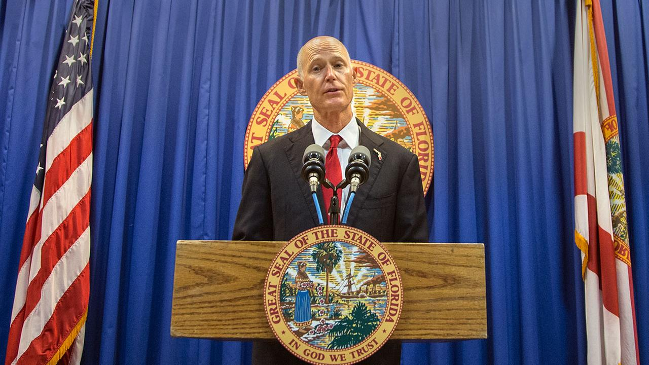 Florida Governor Rick Scott lays out his school safety proposal during a press conference at the Florida Capitol in Tallahassee, Fla., Friday, Feb 23, 2018.