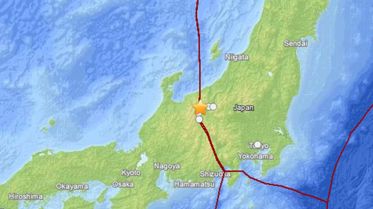 This map from the U.S. Geological Survey shows the location of a strong earthquake that struck central Japans Nagano city on Saturday, Nov. 22, 2014.