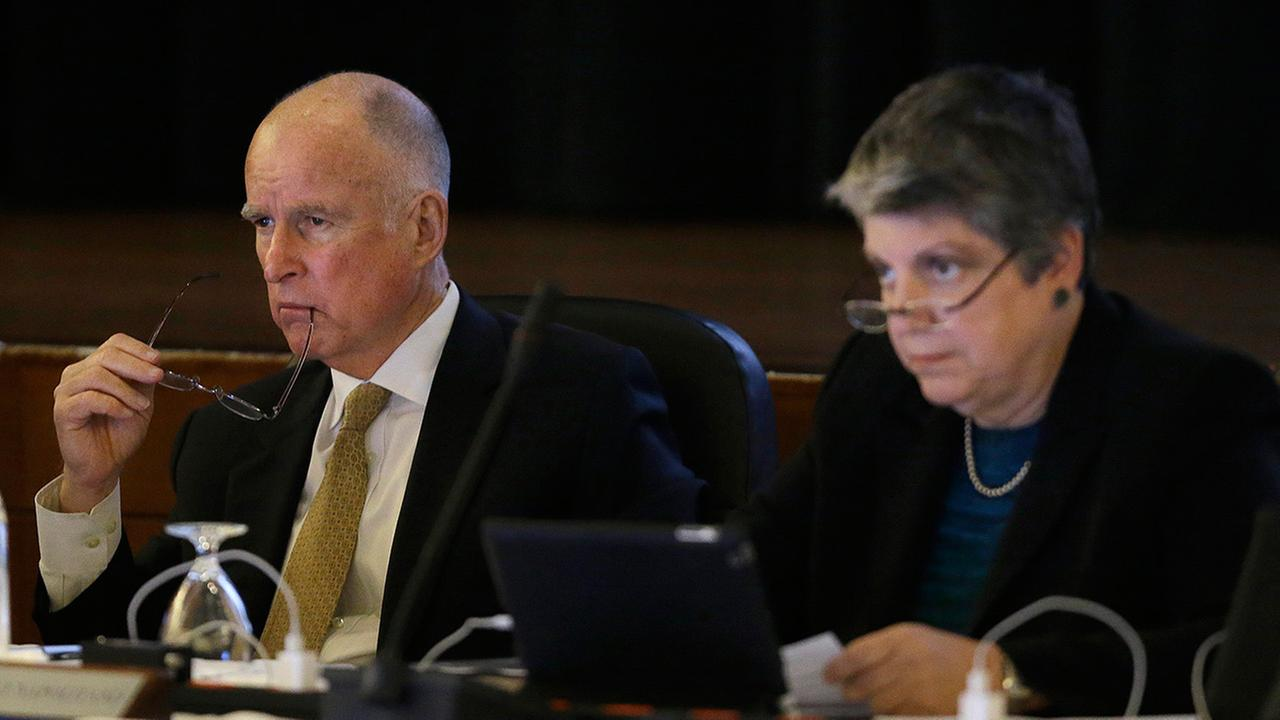 Gov. Jerry Brown and University of California president Janet Napolitano