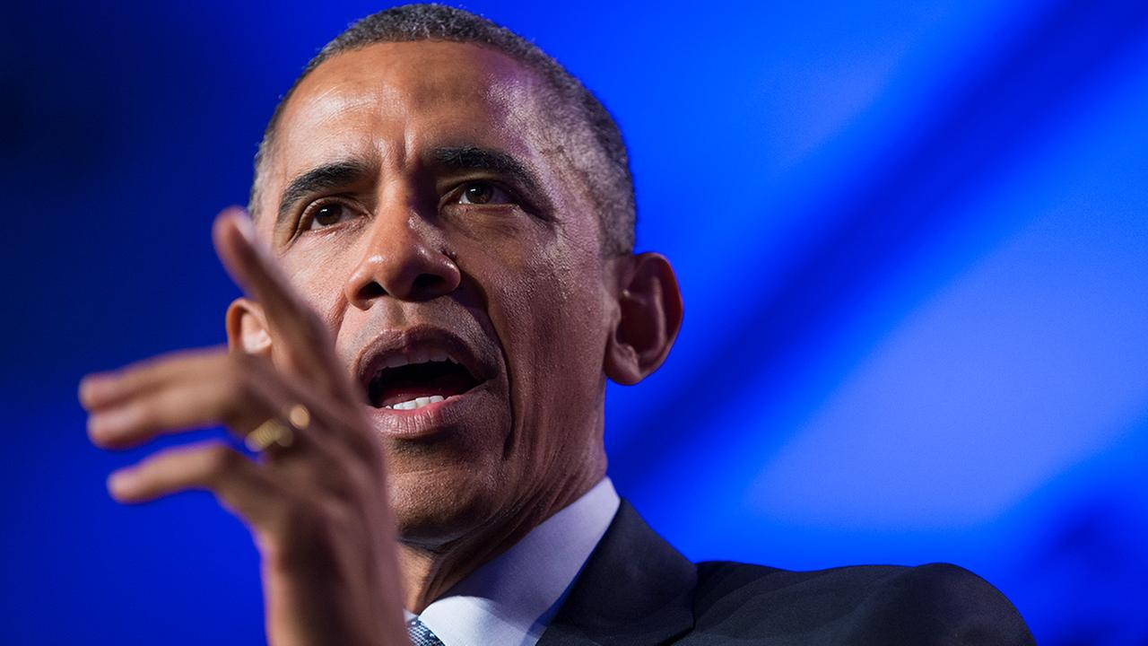President Barack Obama speaks at the Democratic National Committee winter meeting in Washington, Friday, Feb. 20, 2015.