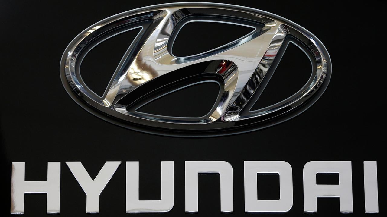 This Photo taken Feb. 14, 2013 shows the Hyundai logo at the 2013 Pittsburgh Auto Show in Pittsburgh.