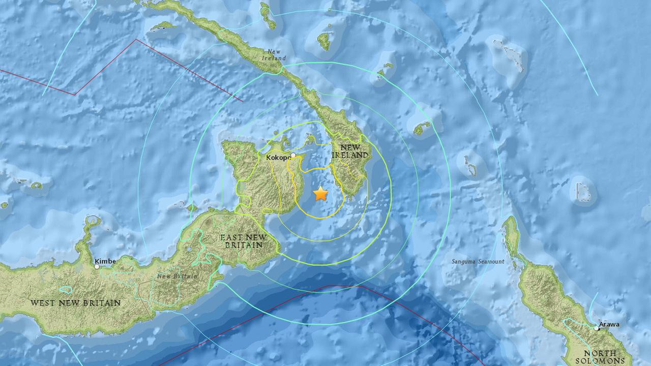 A magnitude-7.7 earthquake struck near the South Pacific nation of Papua New Guinea Sunday, March 29, 2015.