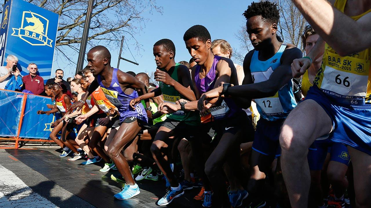 The elite runners start the Boston Marathon 5k race in Boston, Saturday, April 18, 2015. The 119th Boston Marathon will be run on Monday.