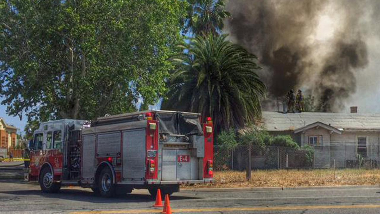 A fire broke out at a home in Downtown Fresno on Sunday, April 26, 2015.