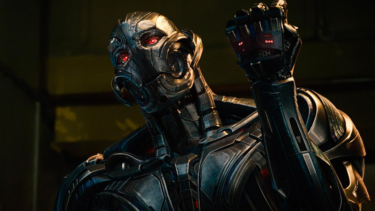 This photo provided by Disney/Marvel shows, James Spader as Ultron Prime, in a scene from the film, Avengers: Age of Ultron.