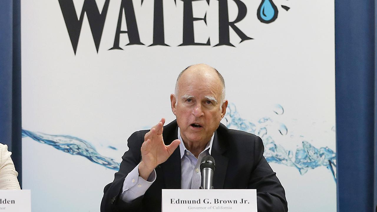 Gov. Jerry Brown responds to a question after a meeting with businesses affected by the drought at his Capitol office in Sacramento, Calif., Thursday, April 16, 2015.
