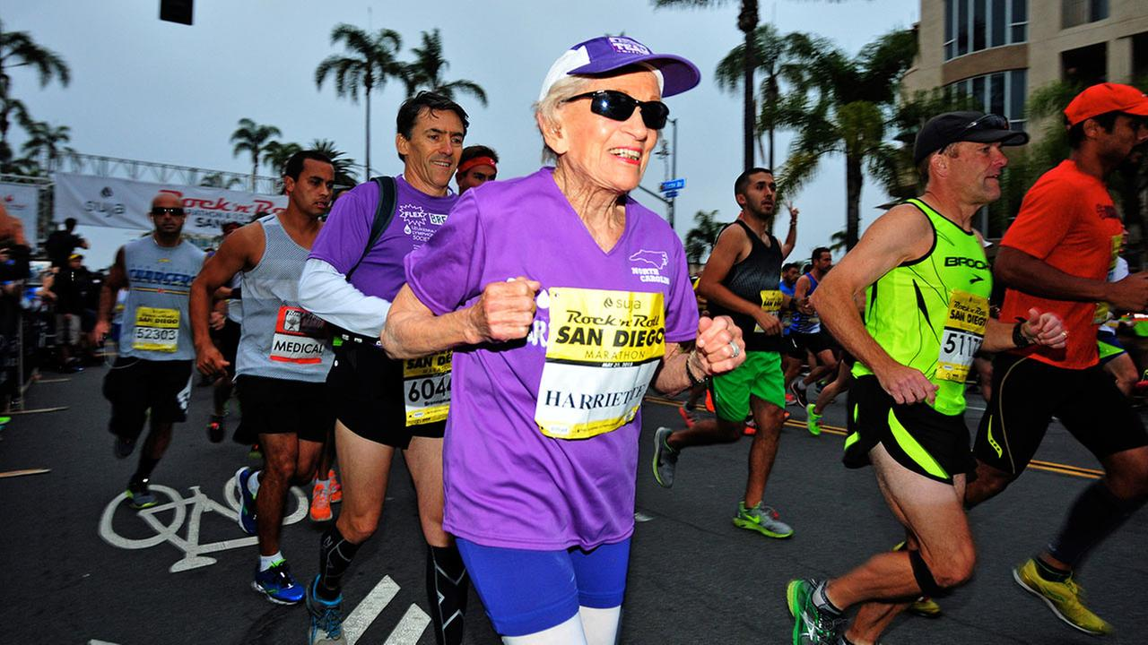 In this photo provided by Competitor Group, Harriette Thompson starts the Suja Rock n Roll Marathon in San Diego on Sunday, May 31, 2015.