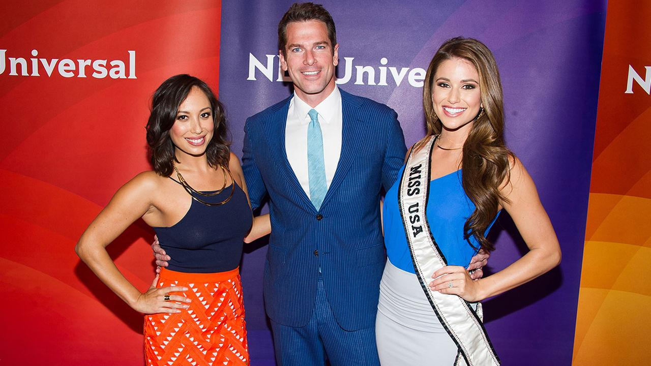 Cheryl Burke, left, Thomas Roberts and Nia Sanchez arrive at the NBCUniversal New York Summer Press Day event at The Four Seasons Hotel on Wednesday, June 24, 2015, in New York.