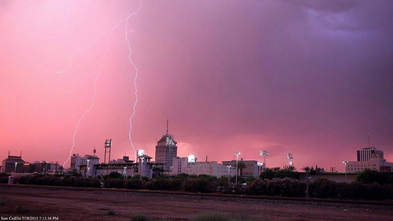 Lightning over Downtown Fresno on Saturday, July 18, 2015.