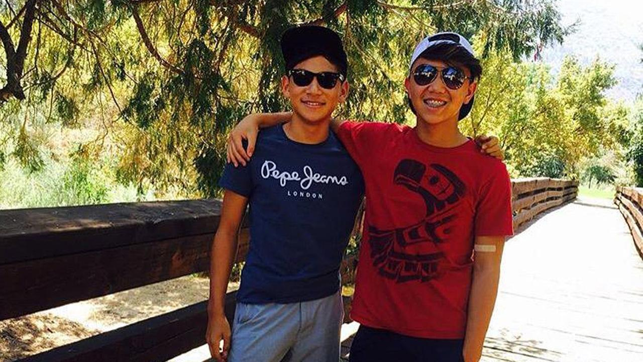 Dragon Kim, 14, and Justin Lee, 15, are shown together in an undated photo.