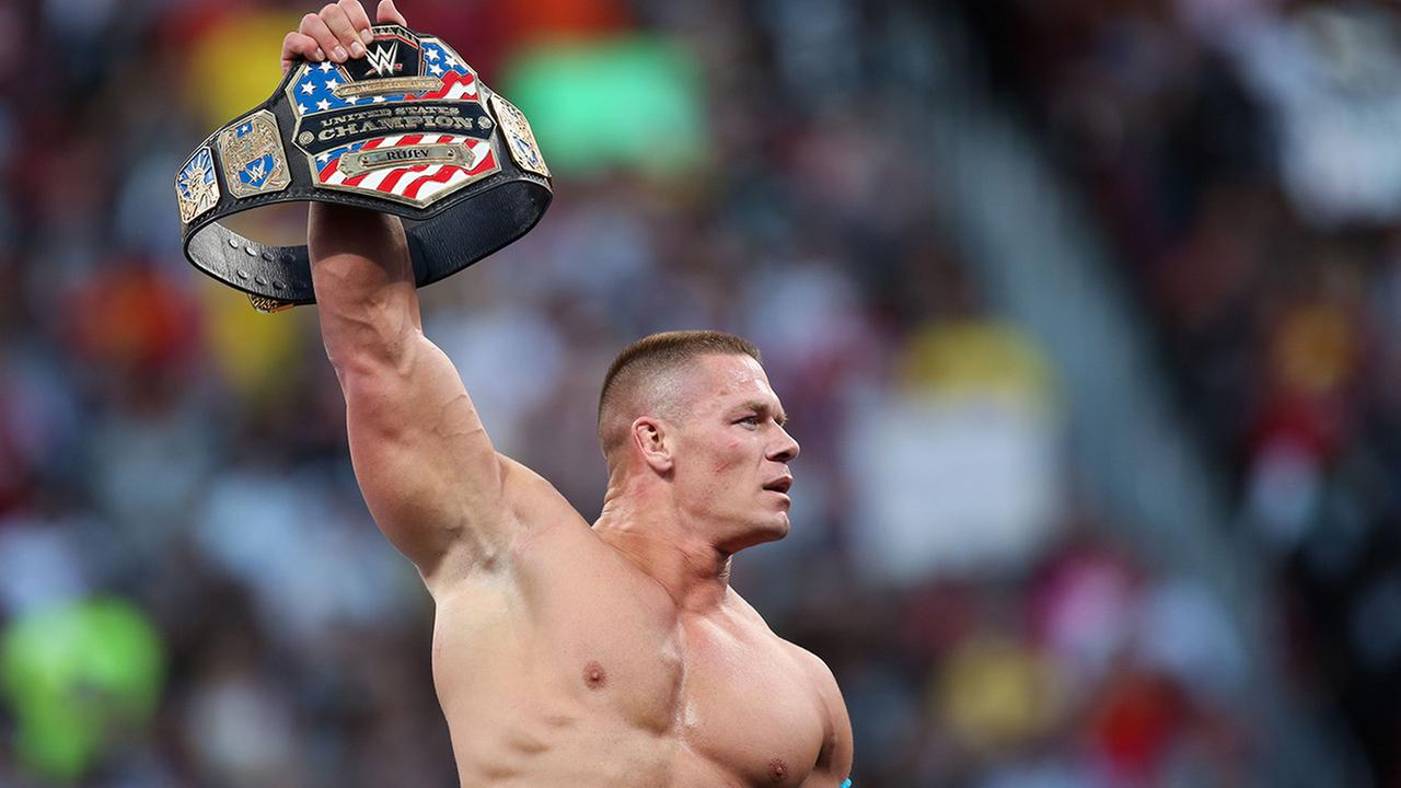 WWE superstar John Cena celebrates winning the US title at WrestleMania 31 on Sunday, March 29, 2015 at Levis Stadium in Santa Clara, Calif.