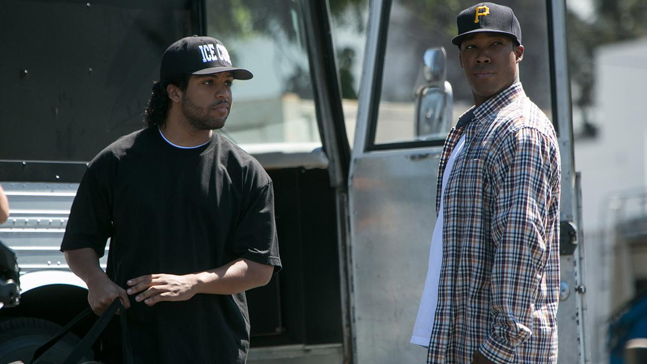This photo provided by Universal Pictures shows, OShea Jackson, Jr., left, as Ice Cube and Corey Hawkins as Dr. Dre, in the film, Straight Outta Compton.