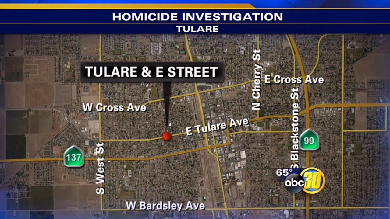 Tulare Police say someone spotted a man on the ground bleeding near Tulare Avenue and E Street around 4 p.m. Saturday.