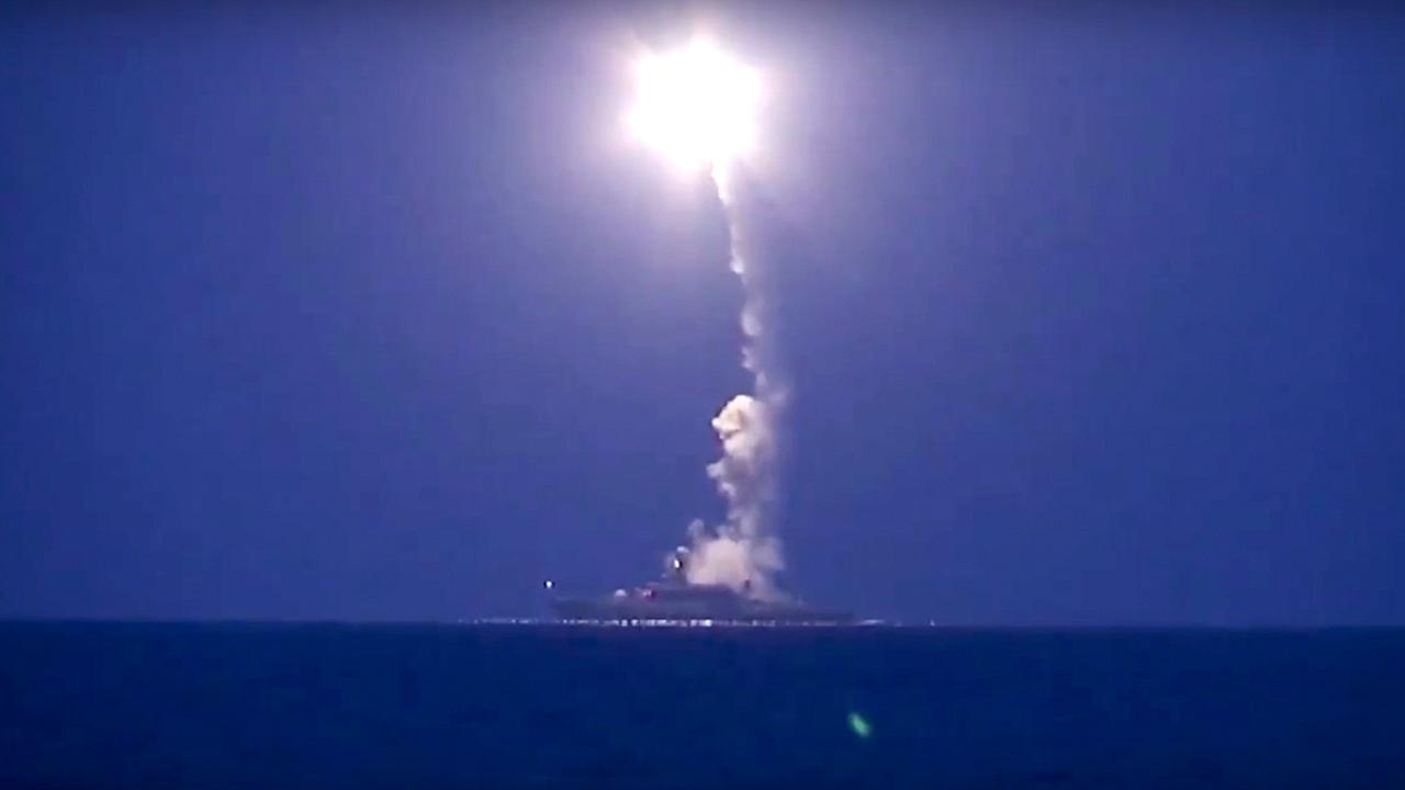 Russian navy ship launches a cruise missile in the Caspian Sea