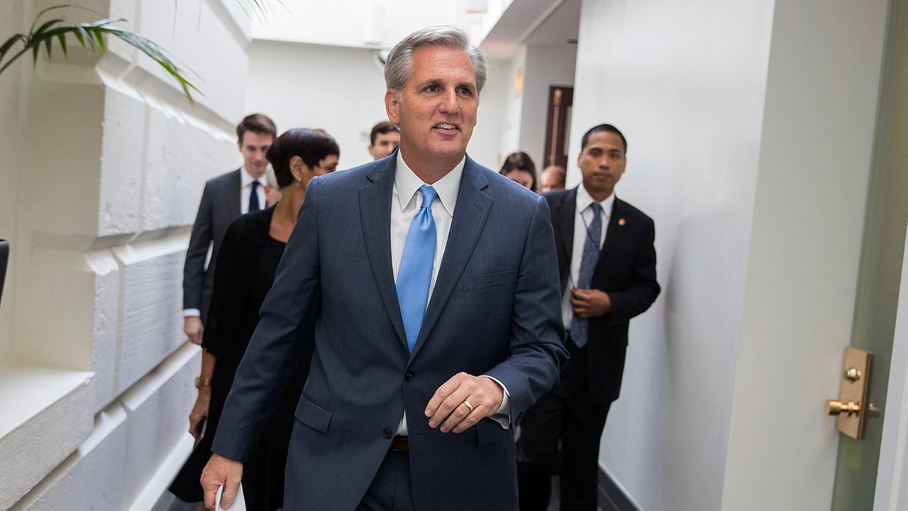 House Majority Leader Kevin McCarthy of Calif., leaves a meeting on Capitol Hill in Washington