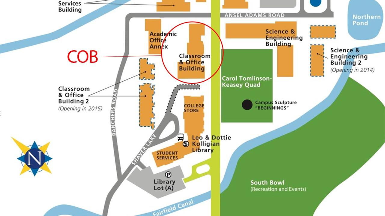 Location of the Classroom and Office Building (COB)