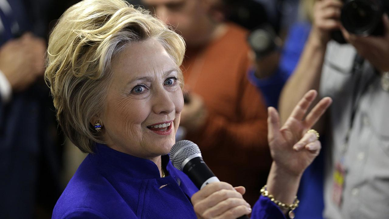Democratic presidential candidate Hillary Clinton talks to employees at St. Johns Riverside Hospital in Yonkers, N.Y., Monday, April 18, 2016. (AP Photo/Seth Wenig)
