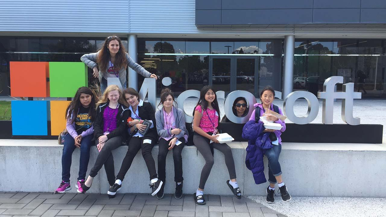 Kings Canyon Middle School teacher Celeste Avedikian, top, poses at Microsoft headquarters in the Silicon Valley with CoderGirlz members, from left, Nayelli Evans, Tiffany Gimbarti, Sydnee Splettstoesser, and Carolina Pulido from Cooper Academy and Vannie