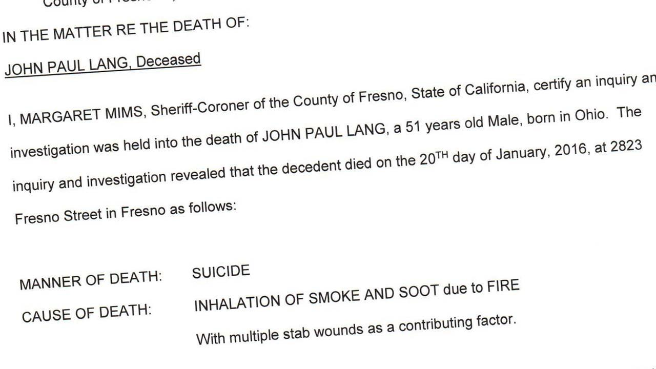 Final Coroners report on the suicide of John Lang