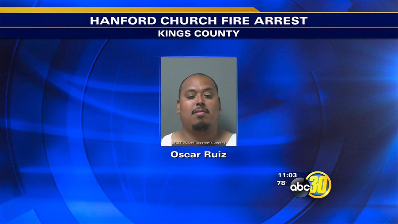 Police arrested Oscar Medina Ruiz for lighting wicker baskets, a robe, and pictures on fire inside Immaculate Heart of Mary church on Hanford-Armona Road.