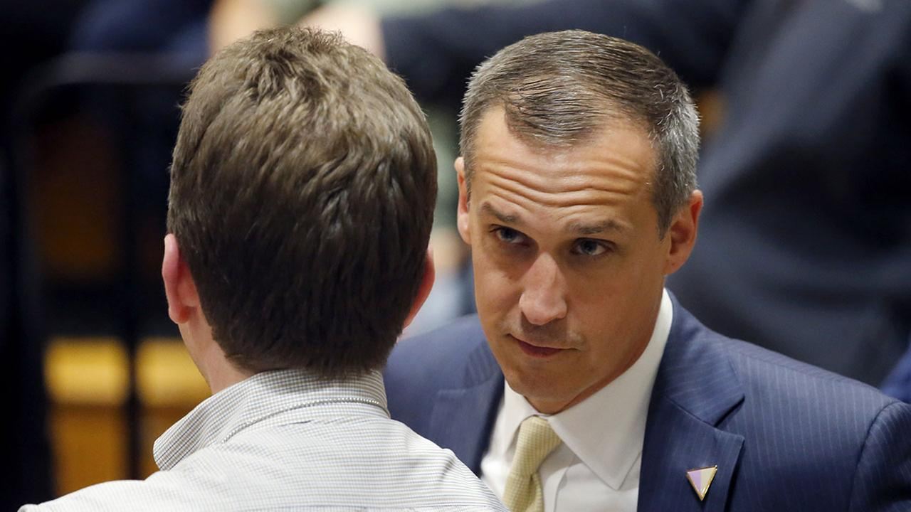 In this photo taken April 3, 2016, Donald Trumps campaign manager Corey Lewandowski talks to a member of the media. (AP Photo/Charles Rex Arbogast)