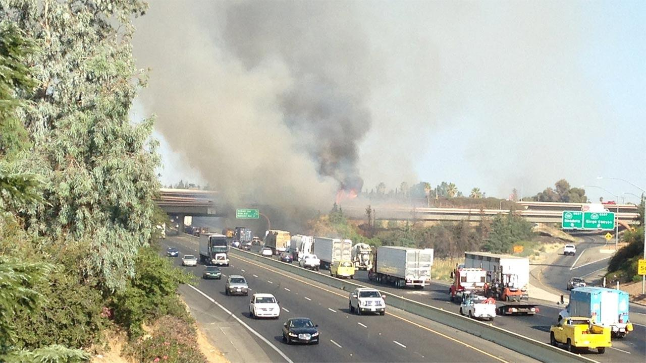 Fire at Northbound Highway 99 and Highway 180 interchange.