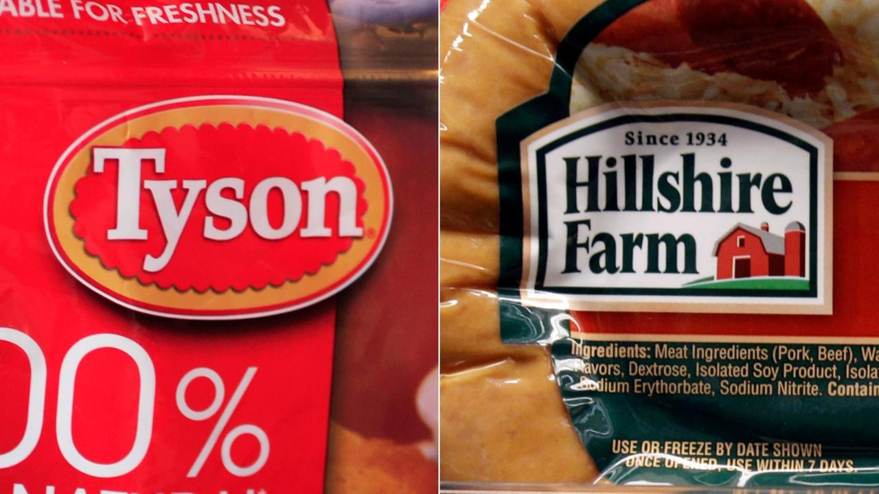 FILE - This file photo combo shows a package of frozen Tyson Chicken Nuggets, left, and a package of Hillshire Farm sausage