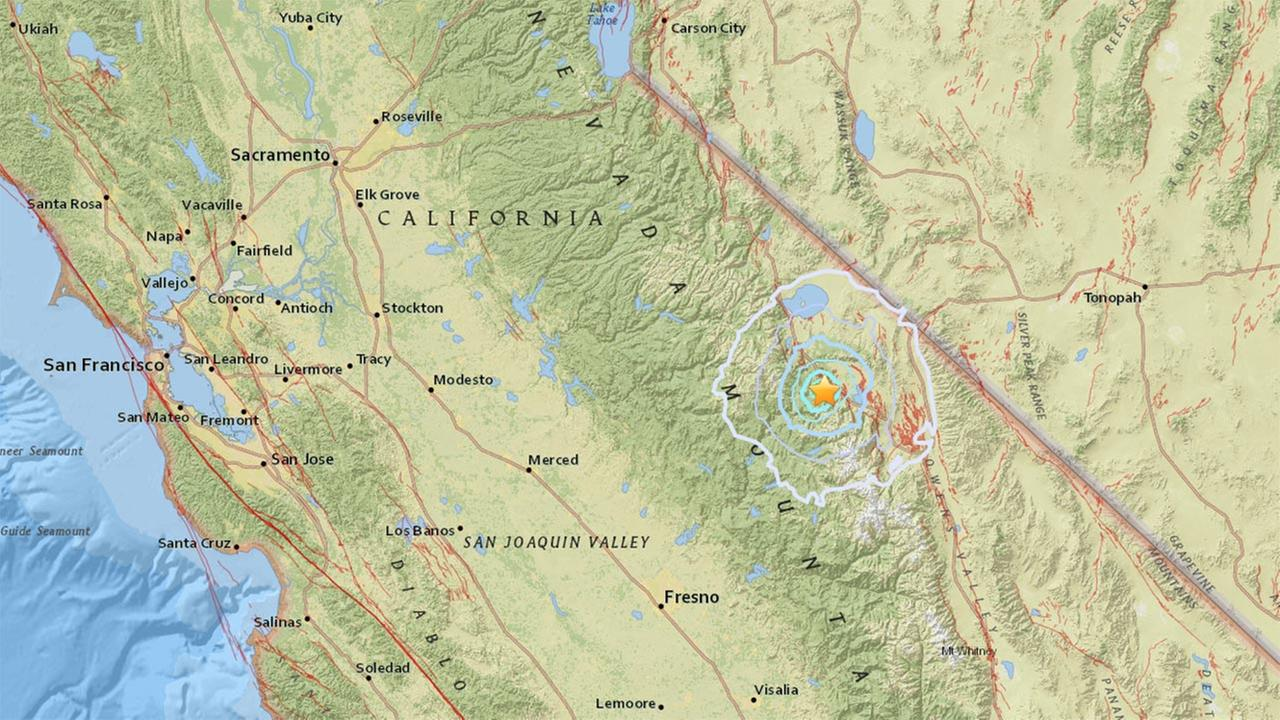 USGS Map of the Mammoth Lakes earthquake