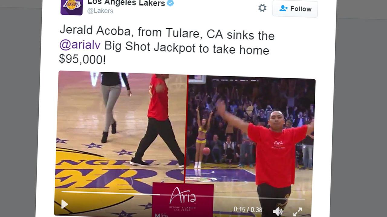 Tulare man wins $95k after making half-court shot Staples Center