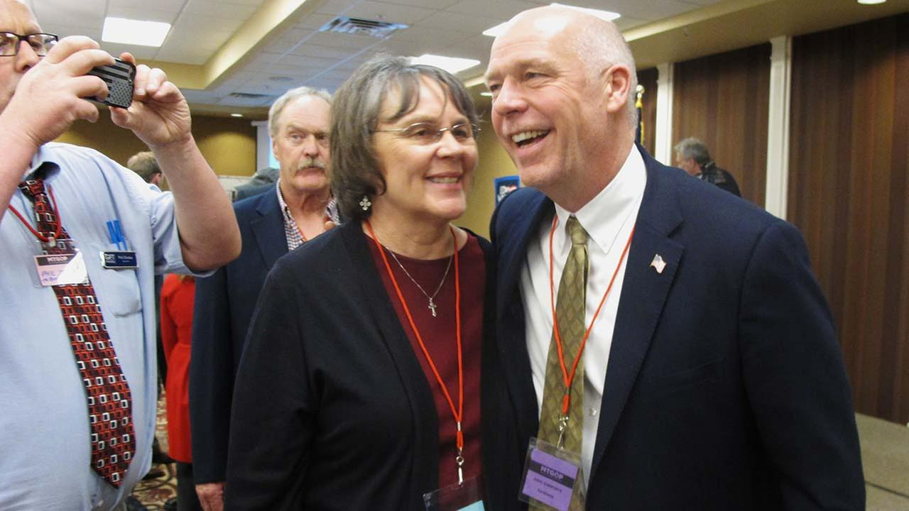 Greg Gianforte, right, receives congratulations from a supporter on Monday, March 6, 2017, in Helena, Mont., after winning the Republican nomination for Montanas special election